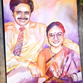 Special gift for INDIAN HINDU PARENTS for 50th 25th 40th wedding anniversary - Couple watercolor portrait