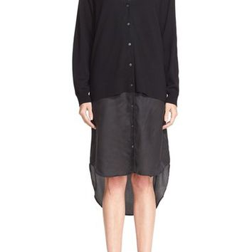T by Alexander Wang Mixed Media Cardigan | Nordstrom