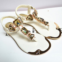 Women Fashion Rhinestone PU Flip Flops Sandals