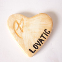 "Ceramic ""LOVATIC HEART PENDANT"" -- NZMade"