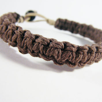 Mens Bracelet Mens Gift Thick Brown Hemp, Eco-Friendly Bracelet , Anniversary Gift