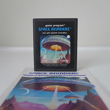 "Sci Fi Video Game Classic, Atari ""Space Invaders"" with Original Instructions - 1970s, dad gift, pop culture, for him, space, shooter"