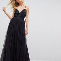 Needle & Thread Embellished Tulle Maxi Dress with Cami Straps at asos.com