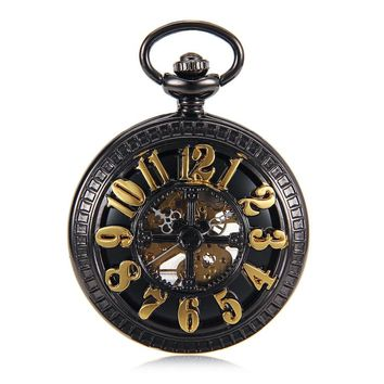 Hot Big Arabic Number Hollow Cross Design Vintage Cut-out Black Hand Wind Mechanical Mens Pocket Watch Skeleton Steampunk Watch