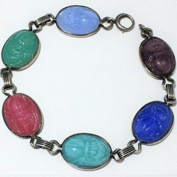 Czech Sterling Silver Molded Glass Scarab Bracelet,  Egyptian Revival Style, Art Deco Era Jewelry, Vintage Jewellery 818m