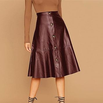 Solid Single Breasted Leather Elegant Midi Skirt Women High Waist Office Ladies A Line Flared Skirts