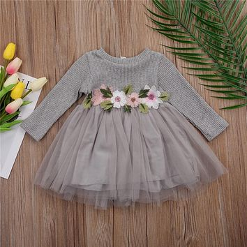 3D Embroidery Floral Knit Dress Baby Kid Girls Long Sleeve Lace  Net Yarn Wedding Princess Pageant Prom Dresses