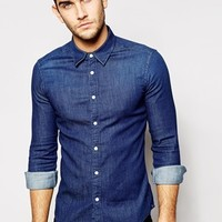 ASOS Skinny Denim Shirt With Long Sleeves In Rinse Wash