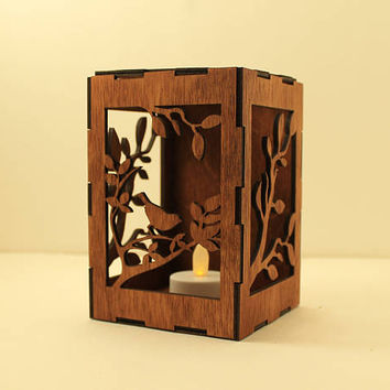 Bird tealight lantern Wood candle holder Shadow box Led flameless candle Laser cut candleholder Led light Night light Wood light Bird decor