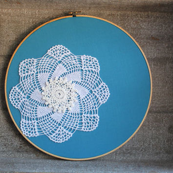 Shabby Chic Doily Art Bright Blue Embroidery Hoop Art Wall Hanging Decor