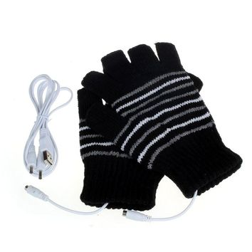 5V USB Powered Heating Gloves Winter Unisex Women Fashion Striped Glove Mitts Men Hand Warmer Heated Gloves Women's Mittens #JO
