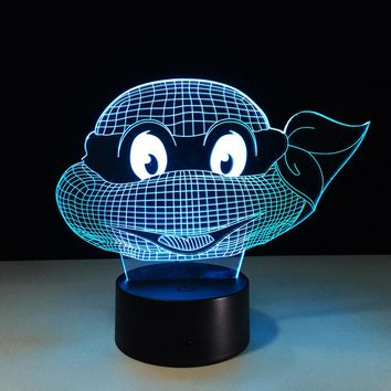 7 Colors Changing Turtle Night Light Lamps 3D Touch Nightlight  Kids Teenage Mutant Ninja Turtles New Year Gift for Kids