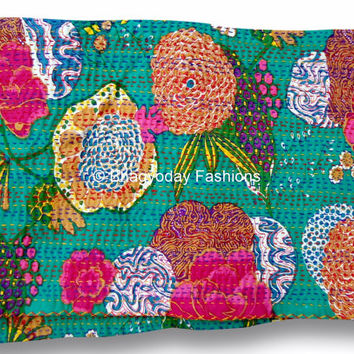 Beautiful Kantha Tagai Taggie Quilt / Tropical Kantha Fabric With Intricated Floral Print / twin Size Bedding