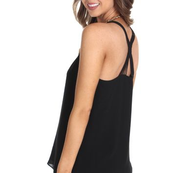 Cross Strap Tank Black