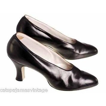Vintage Ladies Black Kid Leather High Heels 1920s Size 7.5 NIB Brown Bilt Elegant