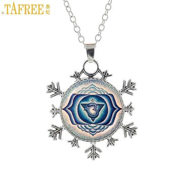 TAFREE 2017 new vintage  yoga om snowflake pendant necklace buddhist meditation mandala women religious jewelry gifts HT197