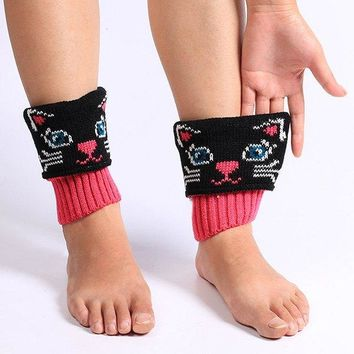 Winter Cat Pattern Knit Boot Cuffs - Black