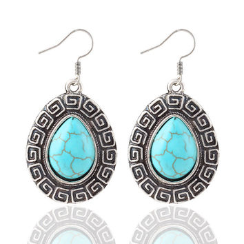 Blue gem Boho earrings