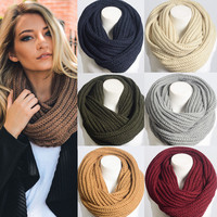 Women Winter Chunky Braided LOOSE KNIT INFINITY HOODIE COWL SCARF WRAP LOOP Long