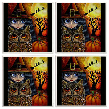 Halloween Coasters, Halloween Decor, Halloween Decorations, Witch, Owl, Witch stuff, Ceramic Coasters, Seasonal Decor, Black and orange