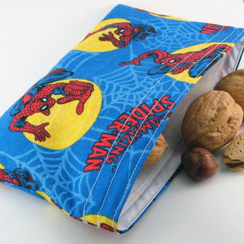 Reusable snack bag - Spiderman boy kid party favor gift giving crayon pouch ecological washable pouch - Sac collation - Ready to ship