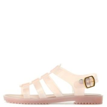 Nude Bamboo Flat Jelly Sandals by