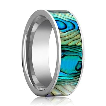 Tungsten Mother Of Pearl Inlay - Tungsten Wedding Band - Polished Finish - 8mm - Tungsten Wedding Ring