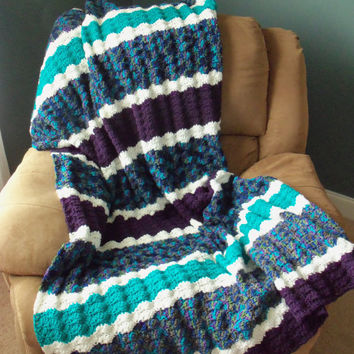 Plum Purple Teal and White Crochet Afghan by SnugableTouches