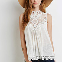 Crochet-Trimmed Slub Knit Top