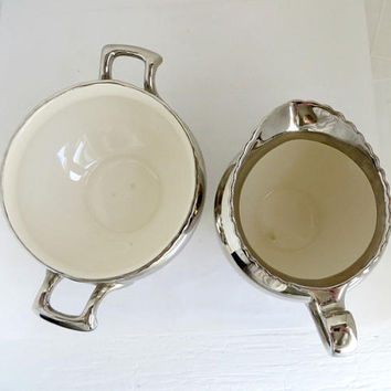 Vintage Silver Luster Sugar Creamer Set, Gray's English Pottery Hand-Painted Set