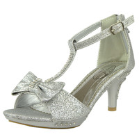 Kids Dress Sandals T-Strap Bow Accent Glitter High Heels Silver SZ