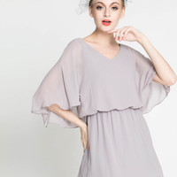 Light Grey V-Neckline Elastic Waist Cape Shift Dress