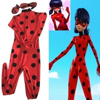 Miraculous Ladybug Cosplay Costume New  Kids/ Child/ Girls Movie Fantasia Party Festa Halloween Costume For Women Kids