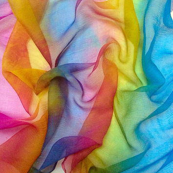 Hand dyed silk crinkle chiffon pieces for Quilting, Needlecraft, Embroidery and Stitching in Brianna