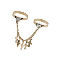 Two Band Cross Ring - Topshop USA