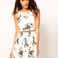 ASOS Skater Dress In Flocked Rose Print With Belt at asos.com