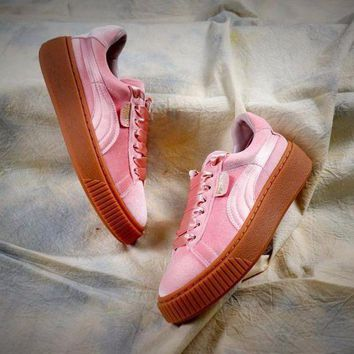 LMFUX5 Puma Suede Classic Basket Shoes With Pink Silk Laces