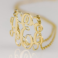 Monogram necklace -0.8 inch Personalized Monogram - 925 Sterling silver 18k Gold Plated