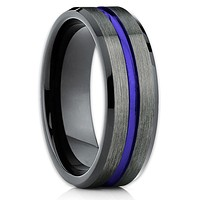 Blue Tungsten Wedding Band - Gunmetal Tungsten Ring - Men's Wedding Band