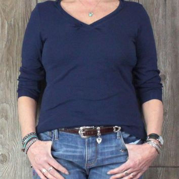 Cute Glima XL size Top Navy Blue USA Made Womens Casual