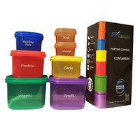 FitGeniusTM Labeled Portion Control Containers (7-Piece Set) - Color-Coded, Meal Prep Containers - Perfect for Diet, Weight Loss & Weight Control programs. Comparable to 21 Day Fix containers.
