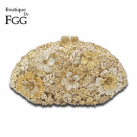 Bridal Wedding Golden Flower Clutch Crystal Bags HardCase Metal Gold Evening Clutches Women Party Cocktail Dinner Bag With Chain