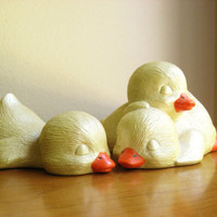 Vintage Ceramic Baby Ducks, Sleeping Ducks, Bird Figurines