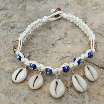 Cowrie Shell Anklet, Gemstones, Hemp Anklet, Shell Anklet, Gift, Beach Jewelry, Nautical, Surfer Jewelry, Handmade, Anklet, Cowrie Shells