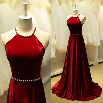 Bakclesss A-Line Sleeveless Long Prom Dresses Evening Dresses