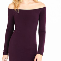 Currant Fitted Off The Shoulder Dress from EXPRESS