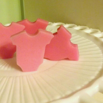 25 or 50 Baby Shirt Favors, Pink or Blue Onesuit, Bulk Baby Shower Soaps; Natural, Glycerin Soaps; Custom Tags, Packaging