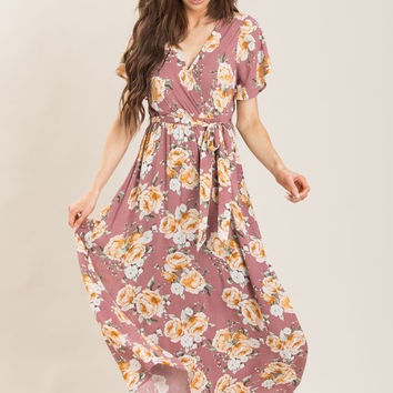Bethany Mauve Floral Maxi Dress