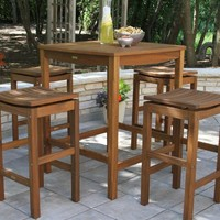 Square Wood Oreton Outdoor Bar Table Collection
