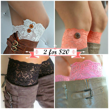 Lace boot cuffs, black floral stretch lace, 2 for 20 deal